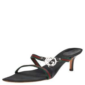 Gucci Black Canvas GG Logo Sandals Size 38.5