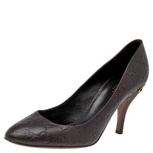 Gucci Dark Brown GG Leather Round Toe Pumps Size 39