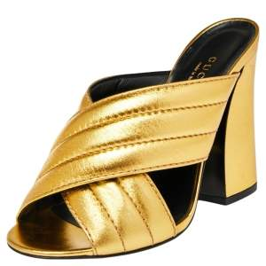 Gucci Metallic Gold Quilted Leather Webby Mules Sandals Size 35