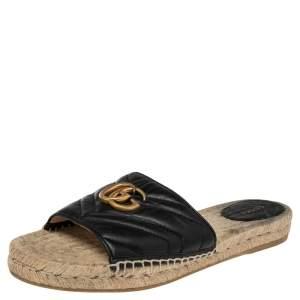 Gucci Black Leather GG Marmont Pilar Espadrilles Slides Size 41