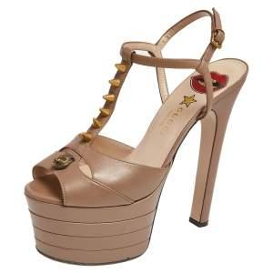 Gucci Metallic Beige Leather Angel T Strap Platform Sandals Size 38.5