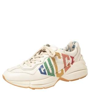 Gucci White Leather Glitter Rhyton Lace Up Sneakers Size 39