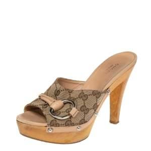 Gucci Beige/Ebony GG Canvas Horsebit Wood Mule Slide Sandals Size 36.5