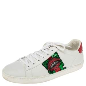 Gucci White Leather Sequins And Crystal Lips Ace Low Top Sneakers Size 41