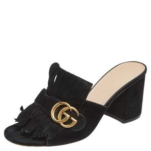 Gucci Black Suede Leather GG Marmont Fringe Mules Size 38.5