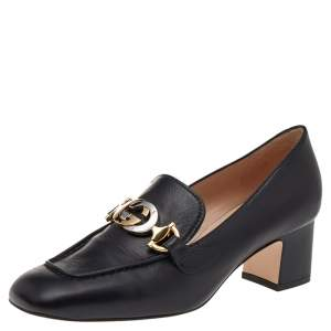 Gucci Black Leather Zumi GG Loafers Pumps Size 36.5