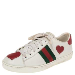 Gucci White Leather And Python Embossed Leather Ace Sneakers Size 37