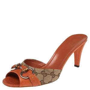 Gucci Orange/Beige GG Canvas and Leather Bamboo Horsebit Slide Sandals Size 40