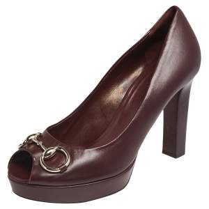 Gucci Brown Leather Horsebit Peep Toe Platform Pumps Size 38