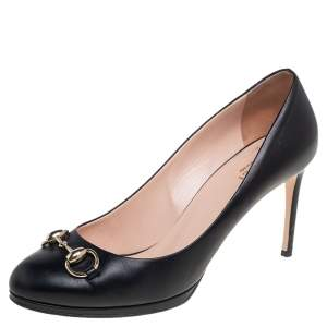 Gucci Black Leather Jolene Horsebit Pumps Size 39.5