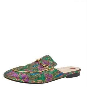 Gucci Multicolor Brocade Fabric Princetown Mule Sandals Size 40