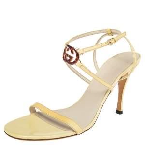 Gucci Yellow Patent Leather Tortoise Interlocking GG Strappy Sandals Size 39.5