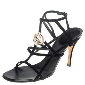 Gucci Black Suede Interlocking G Strappy Sandals Size 39.5
