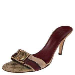 Gucci Beige/Brown GG Canvas Hysteria Slide Sandals Size 41