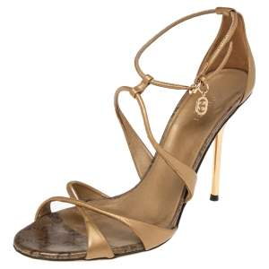 Gucci Gold Leather Criss Cross Ankle Strap Open Toe Sandals Size 39
