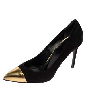 Gucci Black Suede Gold Cap Toe Pointed Pumps Size 39