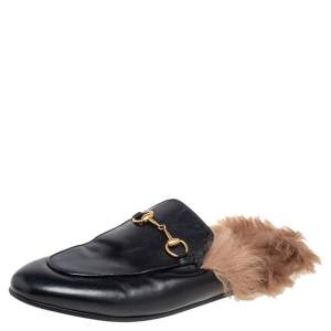 Gucci Black Leather And Fur Princetown Mule Sandals Size 39