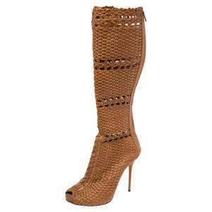 Gucci Beige Woven Leather Peep Toe Knee Length Boots Size 40