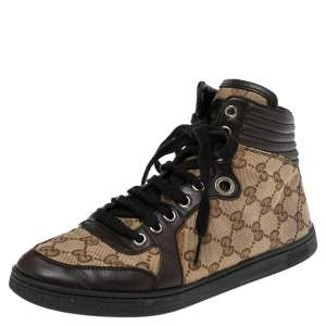 Gucci Brown/Beige GG Canvas and Leather Lace Up High Top Sneakers Size 37
