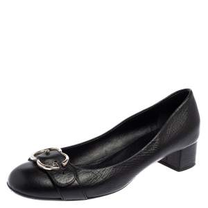Gucci Black Leather Horsebit Block Heel  Pumps Size 39.5