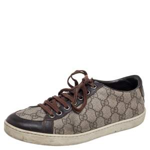 Gucci Beige/Brown GG Supreme Canvas and Leather Low Top Sneakers Size 38