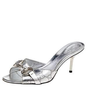 Gucci Silver Guccissima Leather Horsebit Slide Sandals Size 36