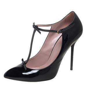 Gucci Black Patent Leather Pointed Toe T-Strap Pumps Size 39.5