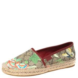 Gucci Multicolor GG Supreme Tian Printed Canvas and Leather Trim Espadrilles Flats Size 37.5