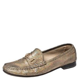 Gucci Iridescent Leather Horsebit Loafers Size 38