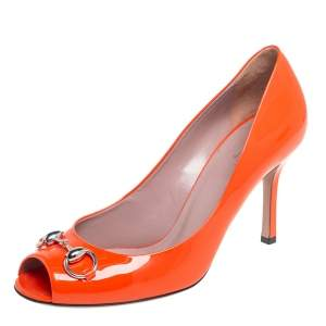 Gucci Orange Patent Leather Horsebit  Peep Toe Pumps Size 39