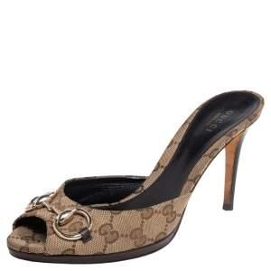 Gucci Beige GG Canvas Horsebit Slide Sandals Size 38.5