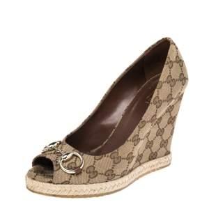 Gucci Beige GG Canvas Charlotte Horsebit Wedge Pumps Size 38.5