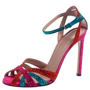 Gucci Multicolor Suede Crystal Embellished Ankle Strap Sandals Size 38