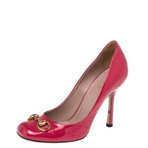 Gucci Pink Patent Leather Horsebit Pumps Size 36.5