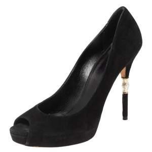 Gucci Black Suede Crystal Embellished Heel Peep Toe Pumps Size 39