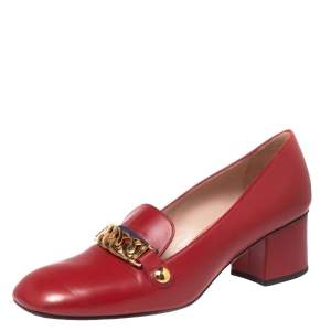 Gucci Red Leather Sylvie Chain Embellished Block Heel Pumps Size 39