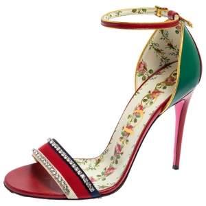 Gucci Multicolor Leather Ilse Crystal Embellished Sandals Size 41