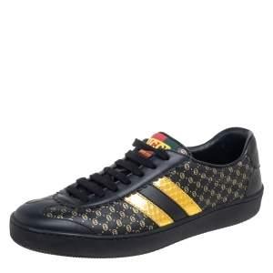 Gucci Black/Gold Leather Web Dapper Dan Sneakers Size 38