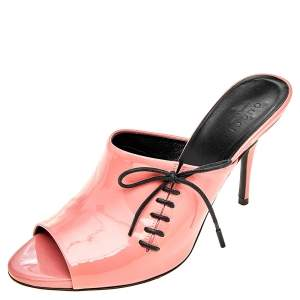 Gucci Coral Pink Patent Leather Lace Up Detail Open Toe Mules Size 36.5