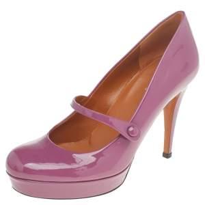 حذاء كعب عالي غوتشي ماري جين جلد لامع وردي داكن نعل سميك مقاس 36