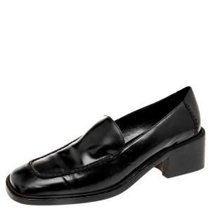 حذاء كعب عالي غوتشي لوفر كعب سميك جلد أسود مقاس 37.5