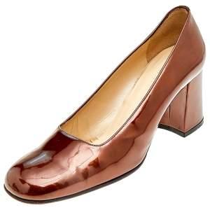 حذاء كعب عالي غوتشي مربع سميك جلد بني لامع مقاس 39