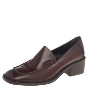 حذاء كعب عالي غوتشي لوفرز جلد بني مقاس 37.5