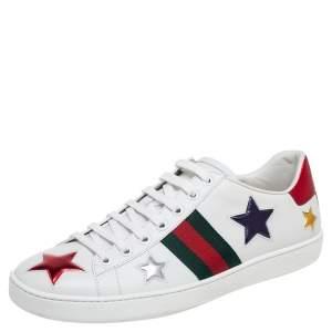 حذاء رياضى غوتشى منخفض من أعلى نحلة أيس جلد نقش ثعبان وجلد أبيض مقاس 40