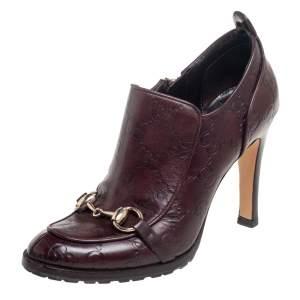 حذاء بوت غوتشي هورسبيت جلد عنابي مقاس 34