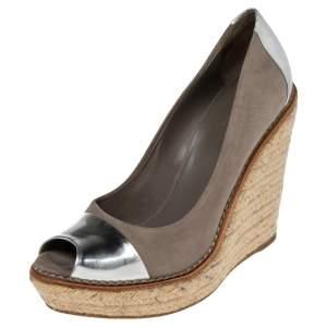 حذاء إسبادريل غوتشي جلد وسويدي رصاصي/فضي بمقدمة مفتوحة وكعب روكي مقاس 37.5