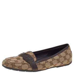 Gucci Beige/Brown GG Canvas And Leather Trim Slip On Loafers Size 38.5