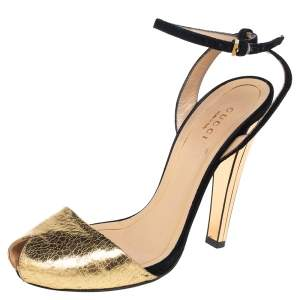 Gucci Gold-Black Leather And Suede Delphine Ankle Strap Sandals Size 36.5