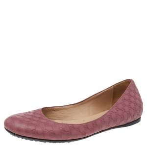 Gucci Pink Micro Guccissima Leather Ballet Flats Size 37