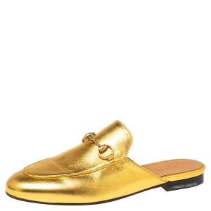 Gucci Metallic Gold Leather Princetown Mules Size 37.5